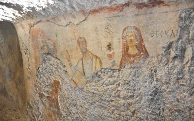 Fresco in St Paul's cave, near Ephesus, Turkey