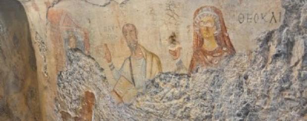 Fresco in St Paul's cave, near Ephesus, Turkey