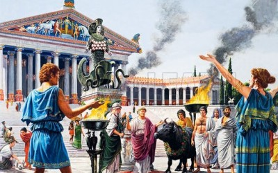 Artist's depiction of the Temple of Artemis with priests and priestesses in attendance, Ephesus, Turkey