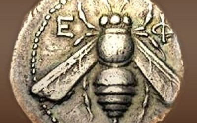 Early coin featuring a bee from Ephesus