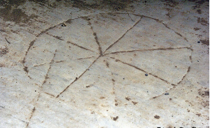 Early Christian symbol carved into the marble in Ephesus, Turkey