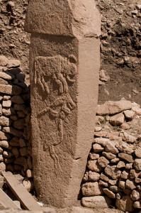 Pillar with animal carving at Gobekli Tepe, Turkey