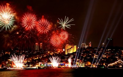Fireworks in Istanbul on New Years Eve